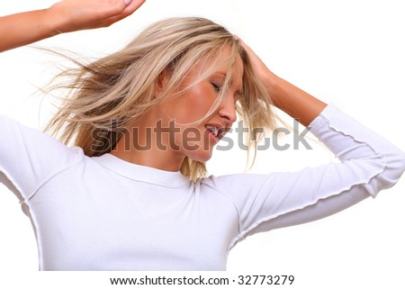 Emotional portrait of the beautiful woman with the light hair, dressed in the white, isolated on a white background, please see some of my other parts of a body images