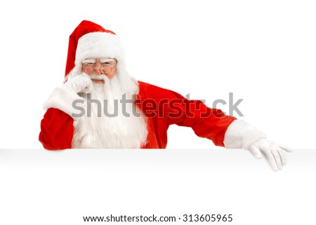 Emotional Santa Claus with a Happy Surprise Holding White  Copy Space,