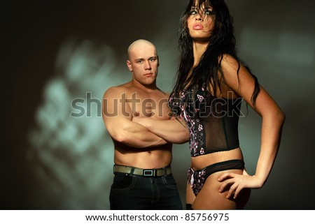 Emotional scene - conflict between man and woman - stock photo