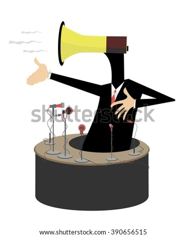 Emotional speech. Man with a megaphone instead of head makes an emotional speech  - stock photo