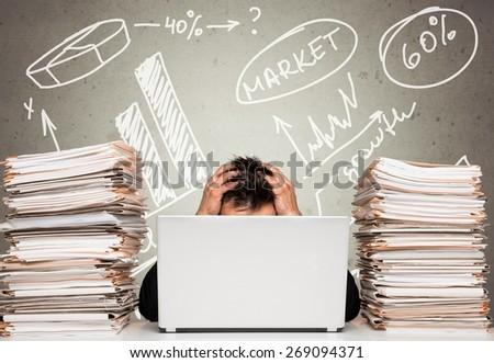 Emotional Stress. Overwhelmed - stock photo