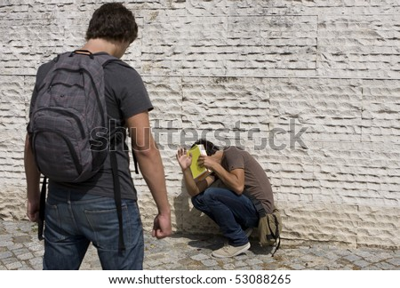 Emotional Stress - teenager student with fear - stock photo
