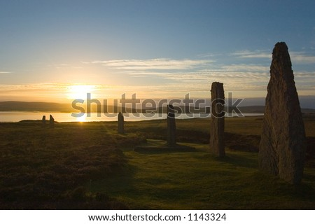 Emotional sunrise at Ring of Brodgar, Orkney, Scotland - stock photo