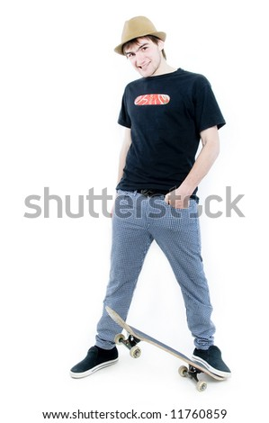 Emotional teenager with skate isolated on white background - stock photo