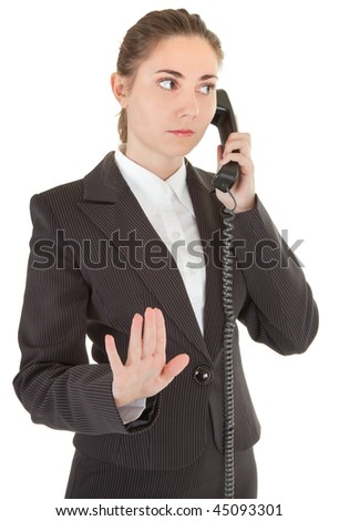 emotional woman in business clothing with a telephone
