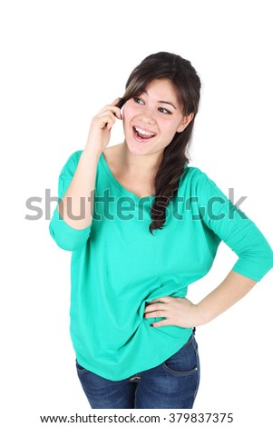 emotional young asian girl speaking mobile phone