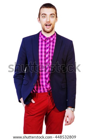 Emotional young man opened his mouth in surprise. Summer fashion. Isolated over white. - stock photo