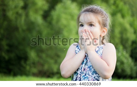 emotions a little girl - stock photo