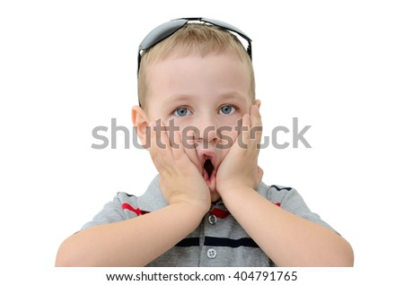 Emotions of surprise and amazement on face boy - stock photo