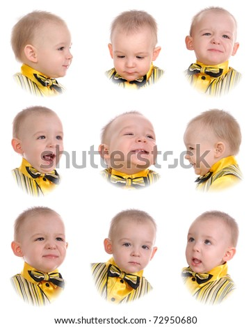 Emotions of the little boy. Isolated on white background - stock photo