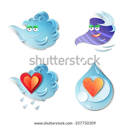 Emotions paper cut illustrations. Set consists of two hearts � sad and laughing and two leaves � smiling and angry. Isolated on white background - stock photo