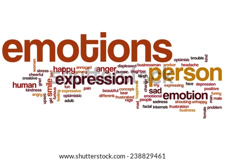 Emotions word cloud concept with happy sad related tags - stock photo