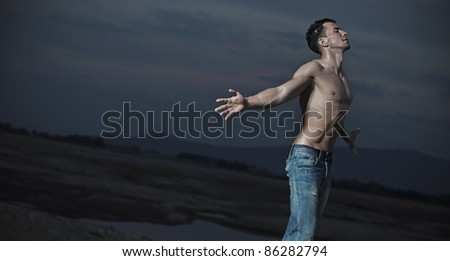 Emotive portrait of an handsome man - stock photo