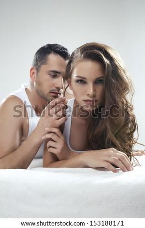 Emotive portrait of sensual couple  - stock photo