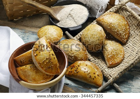 empanada with wholemeal flour - stock photo