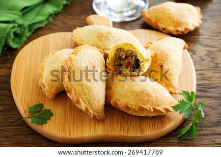 empanadas - Argentine fried meat pies. - stock photo