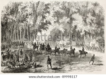 Emperor Napoleon III hunting near Compiegne. Created by Gaildrau after Mercier, published on L'Illustration, Journal Universel, Paris, 1858 - stock photo