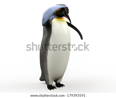 Emperor penguin , cartoon penguin, 3d render penguin isolated on white background
