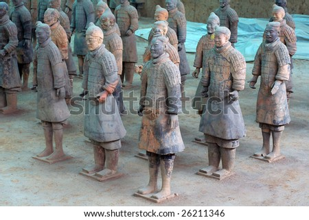 Emperor Qin Shihuang's Mausoleum and the Terra-cotta Warriors and Horses Museum - stock photo