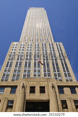 Empire State Building low angle view - stock photo