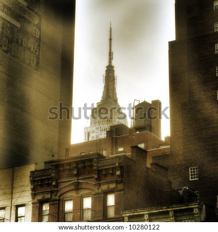 Empire state building, New York City,Manhattan,United States of America - sepia - stock photo