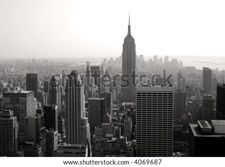 Empire state building, toned b/w - stock photo