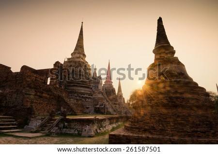 emple ruins at Ayutthaya in Thailand[Wat Phra si sanphet] - stock photo