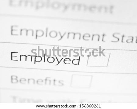 EMPLOYED printed on a form close up - stock photo