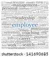 Employee and coaching concept in word tag cloud on white - stock photo