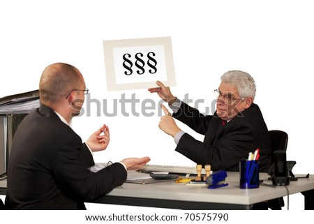 employee asking for more money with boss insisting on minimum wage - stock photo