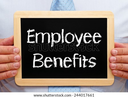 Employee Benefits - Businessman with chalkboard