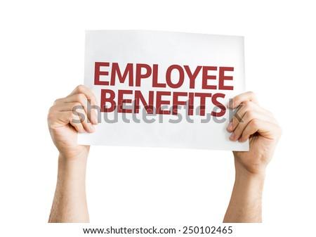 Employee Benefits card isolated on white background - stock photo