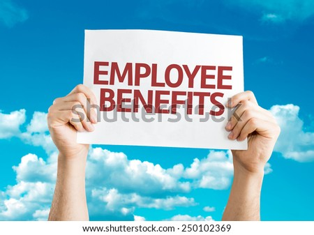 Employee Benefits card with sky background - stock photo
