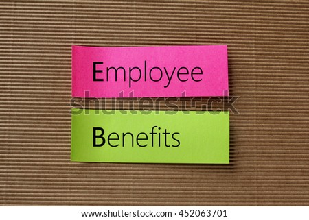 Employee Benefits text on colorful sticky notes - stock photo