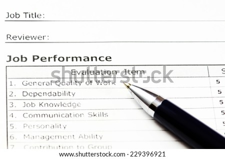 Employee evaluation form. (Blank ready to be filled.) - stock photo