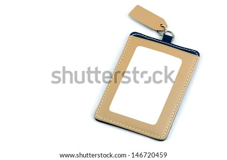 employee id badge leather isolated over white background awesome office table top view shutterstock id