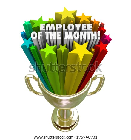 Employee of the Month Gold Trophy Award Top Performing Worker Recognition - stock photo