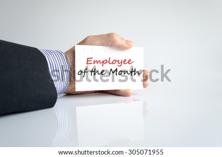 Employee of the month text concept isolated over white background