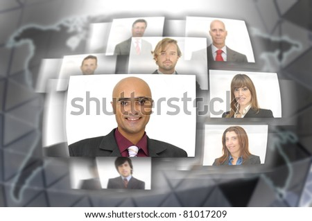 Employee or business people images with modern technology - stock photo