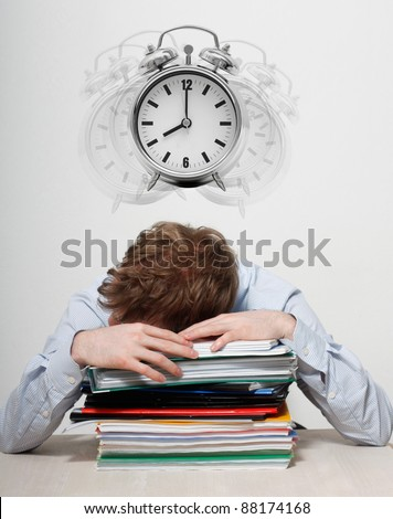 Employee sleeping - stock photo
