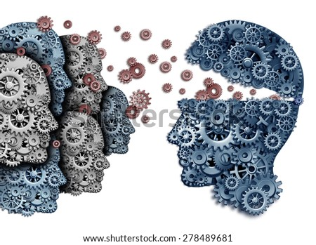 Employee training a group to lead and learn a team of workers learning from a leader sharing a common strategy and vision for developing work skills for success as gears and cogs shaped as a head. - stock photo