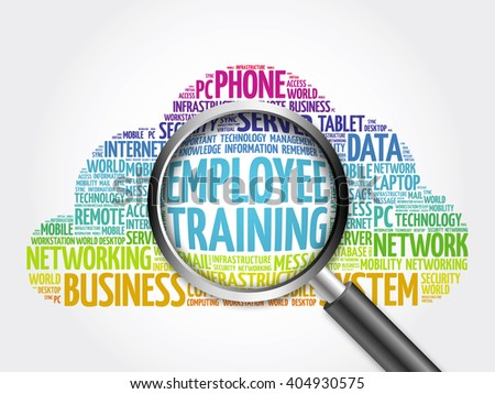 Employee Training word cloud with magnifying glass, business concept