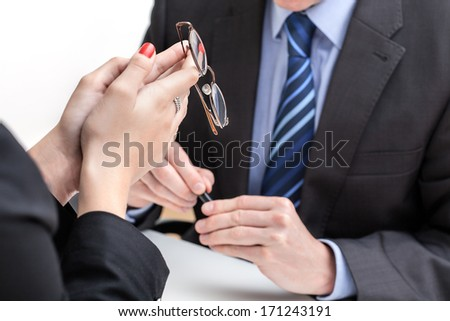 Employee under pression in front of his boss