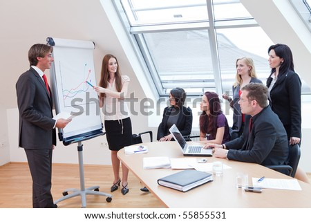 employees are looking at the flipchart while the boss is demonstrating something