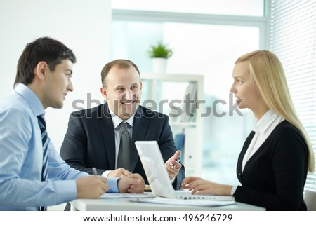 Employees at discussion