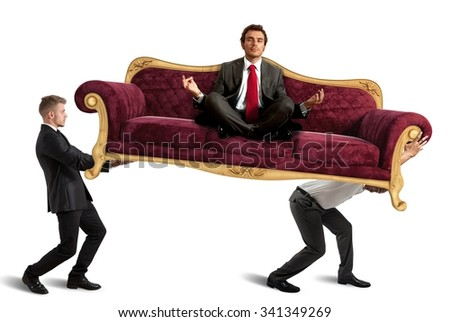 Employees carrying boss doing yoga on sofa