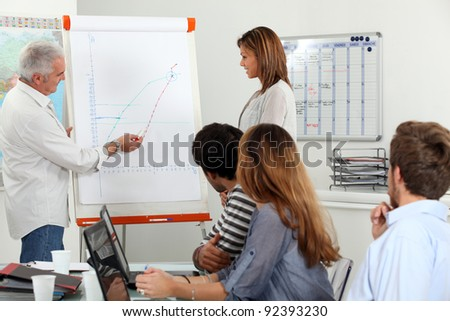 Employees looking a line chart - stock photo