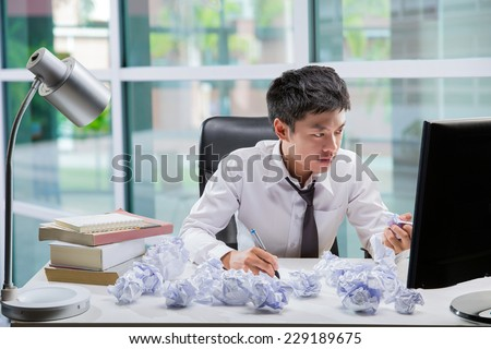 Employees to think and not Work with stress - stock photo