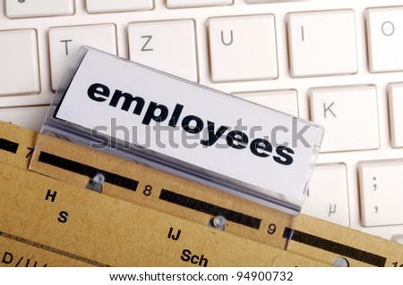 employees word on business office folder showing job hiring or work concept - stock photo