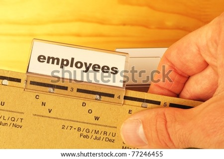 employess word on business office folder shopwing job hiring or work concept - stock photo